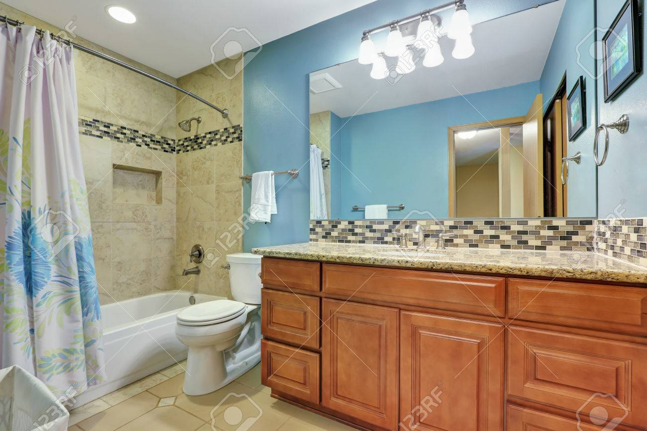 Blue Bathroom Interior With Mosaic Back Splash, Beige Tile Wall ...