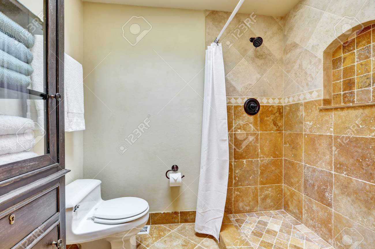 Bright Clean Interior Of Bathroom With Brown Tile , Toilet And ...
