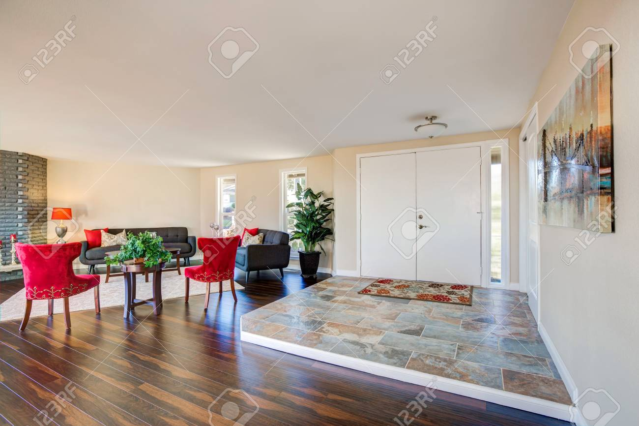 Entry With Leveled Tile Floor And Living Room View. Northwest ...