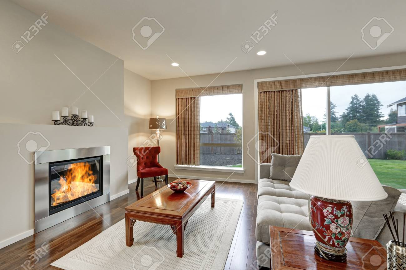 Typical American Family Room Interior In Light Tones The Room