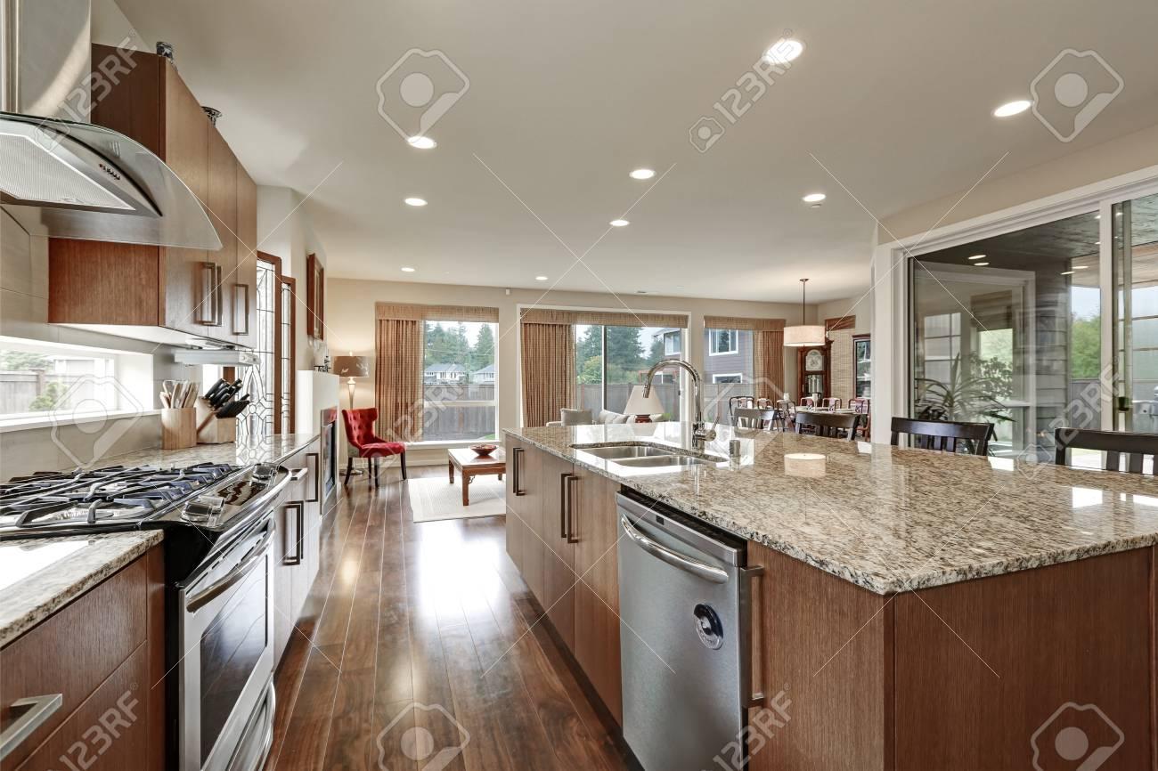 Bright Modern Open Plan Kitchen Room Interior Large Bar Style