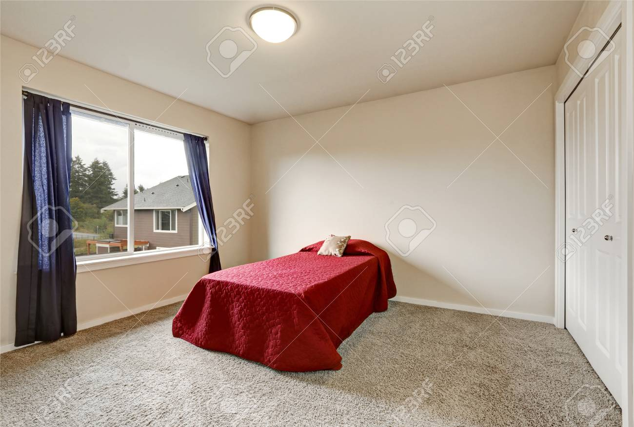 Single Red Bed In Empty Bedroom On The Second Floor Of A New Stock Photo Picture And Royalty Free Image Image 67378885