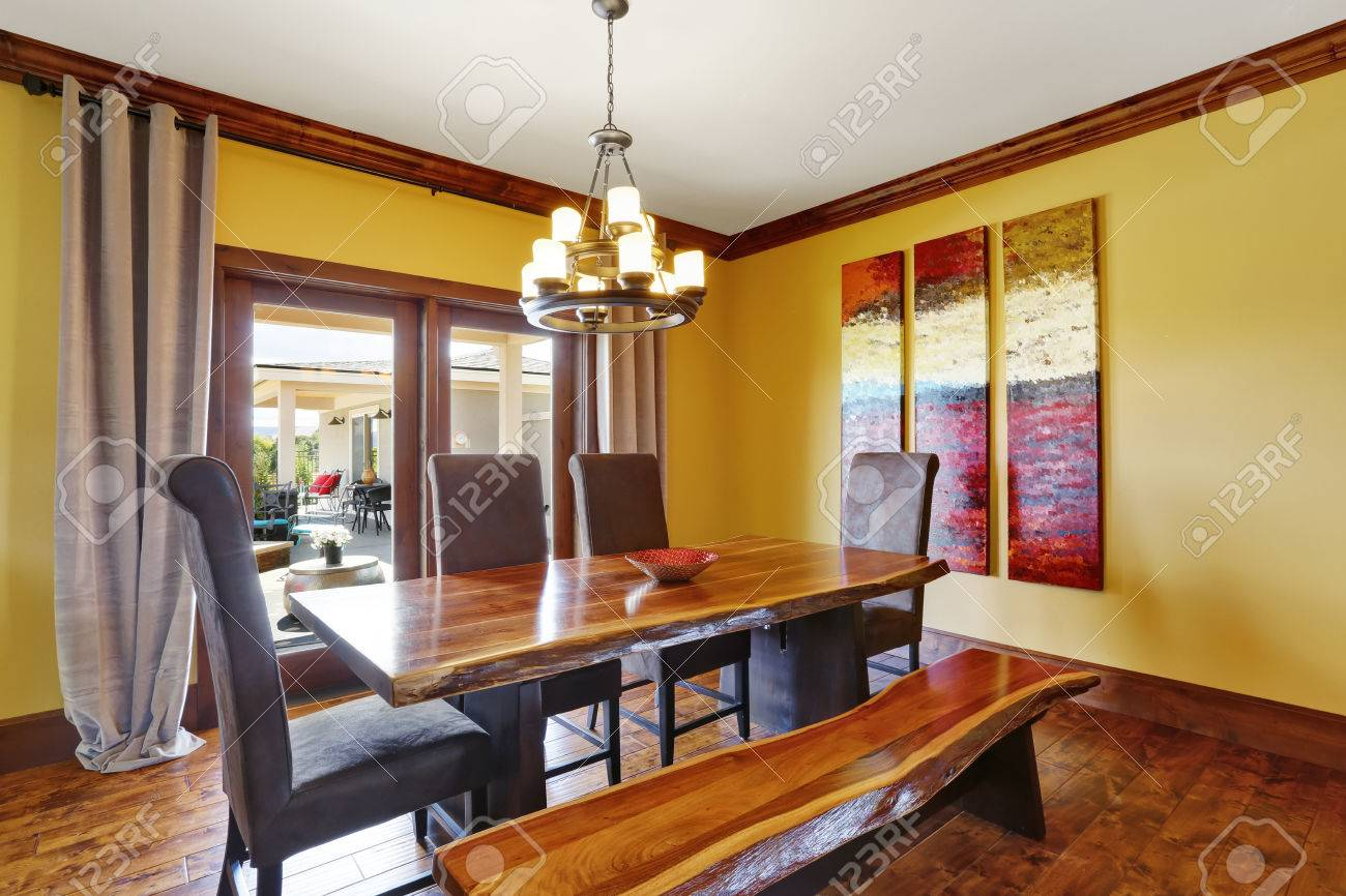 Dining Room Interior Rustic Wooden Table Bench And High Back Stock Photo Picture And Royalty Free Image Image 67380803