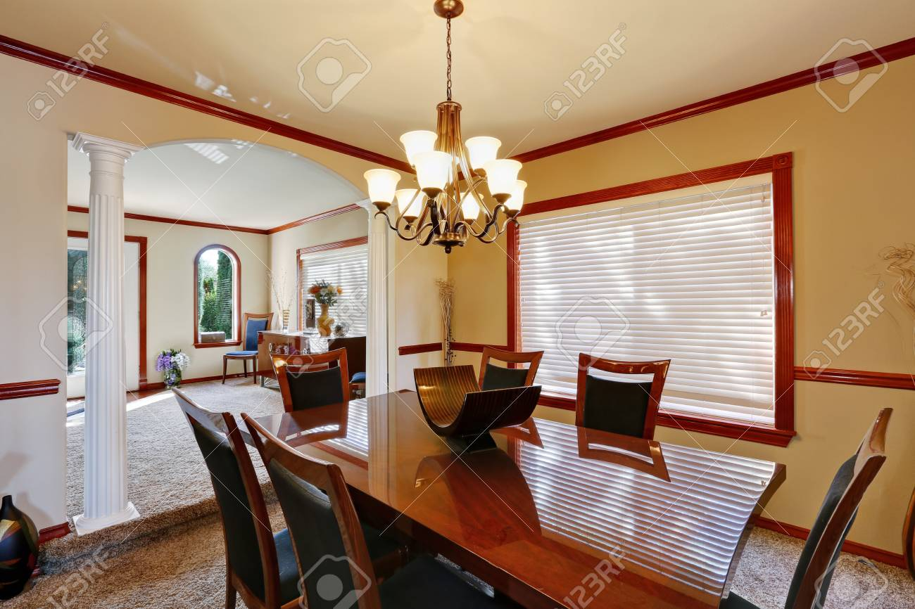 Exceptional Stock Photo   Well Furnished Dining Room With Elegant Chandelier And Luxury  Burgundy Table Set. Northwest, USA