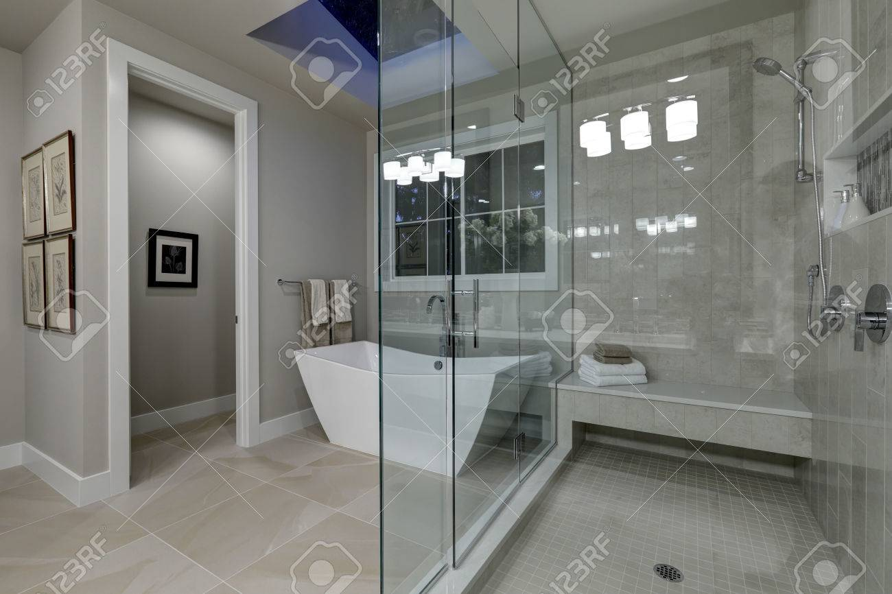 Amazing Gray Master Bathroom With Large Glass Walk In Shower