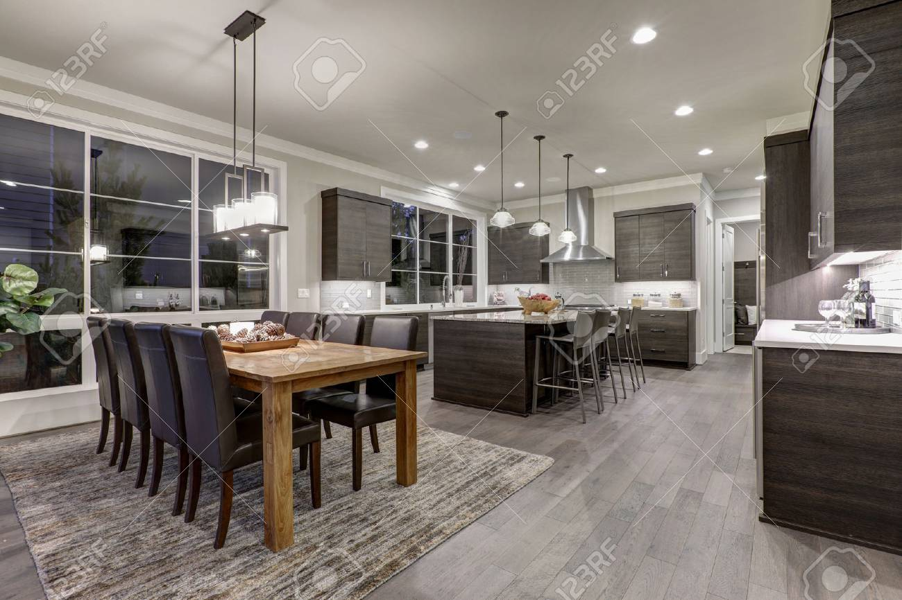 Luxury New Construction Home With Open Floor Plan Dining And Stock Photo Picture And Royalty Free Image Image 70153501