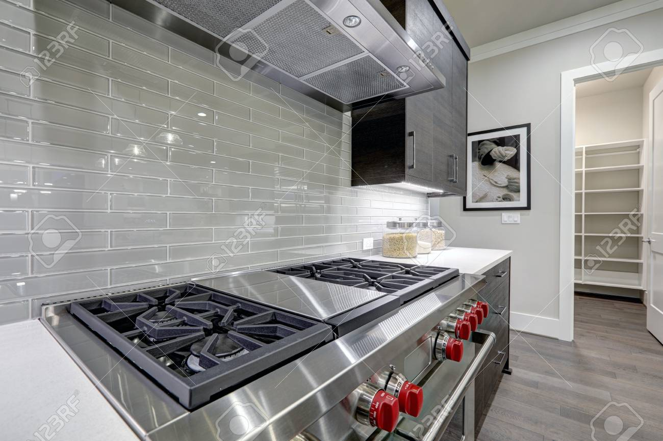 - Modern Gray Kitchen Features Stainless Steel Stove With A Hood