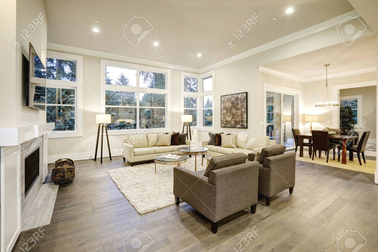 Chic Light Living Room Design With Dark Floors. Furnished With ...