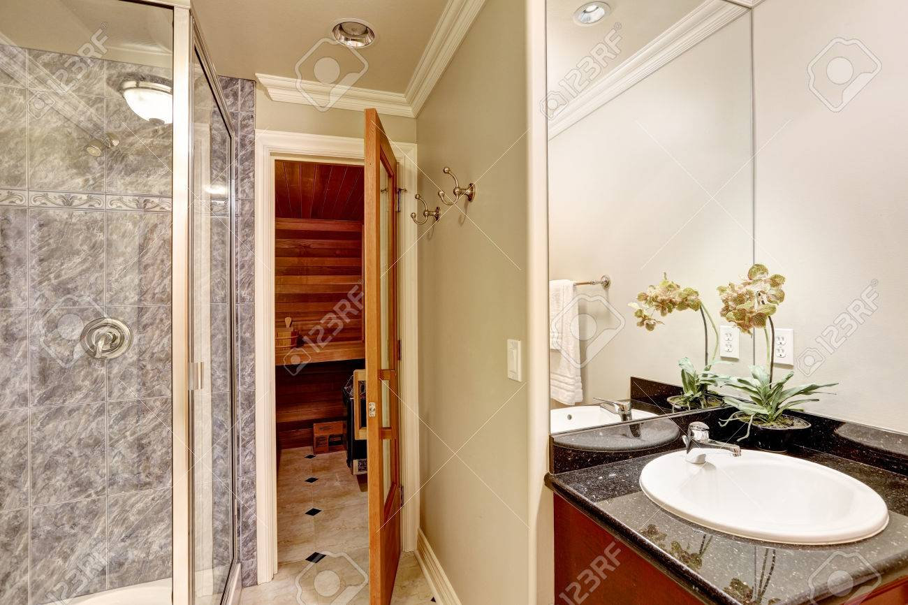 Luxurious Bathroom Interior Design Showcases Small Black Counter Stock Photo Picture And Royalty Free Image Image 70938860