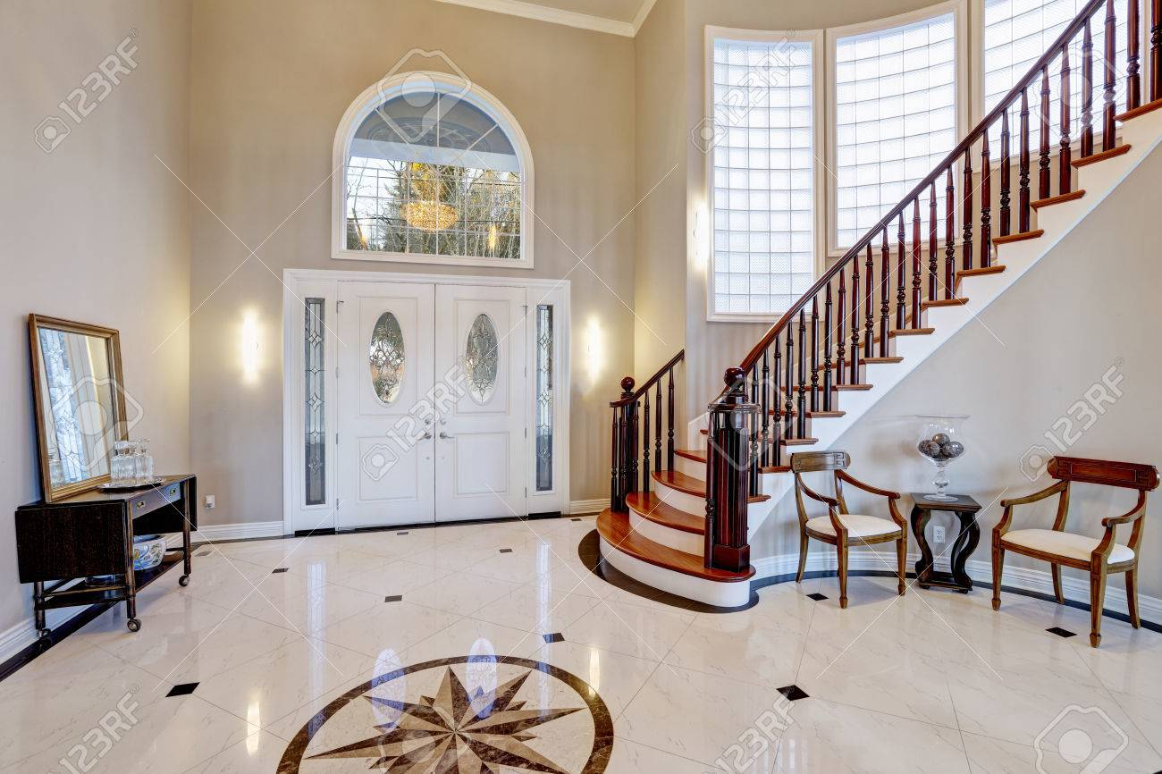 Stunning Two Story Entry Foyer With Lots Of Space Boasts Marble Stock Photo Picture And Royalty Free Image Image 71023463