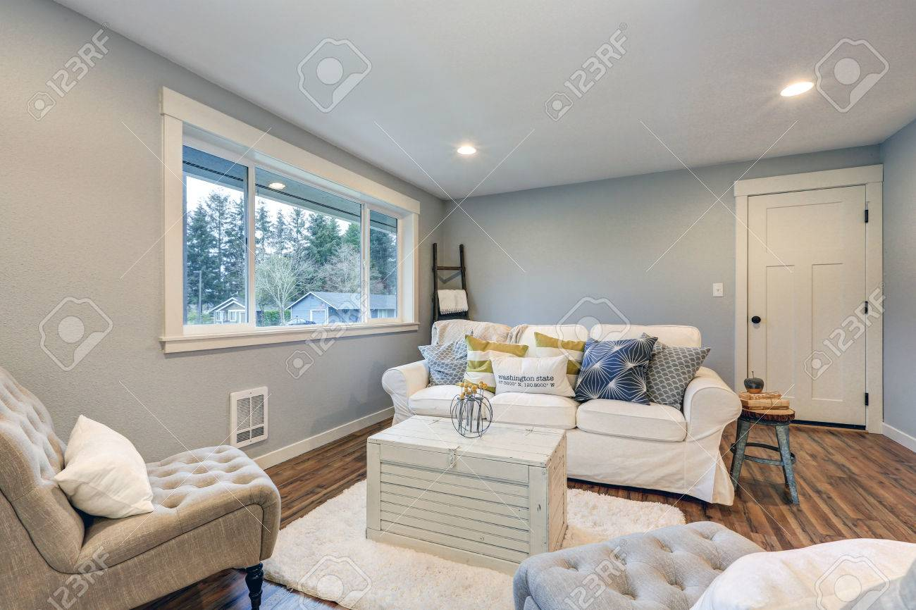 Cozy Living Room Space With Soft Blue Grey Walls, Furnished With.. Stock Photo, Picture And Royalty Free Image. Image 71769560.