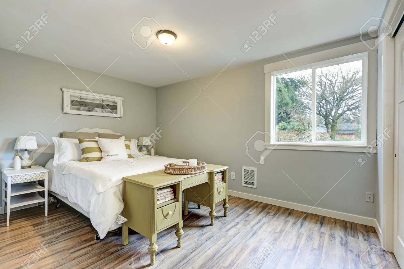 Lovely Pale Grey Bedroom Interior Features Vintage Olive Painted ...