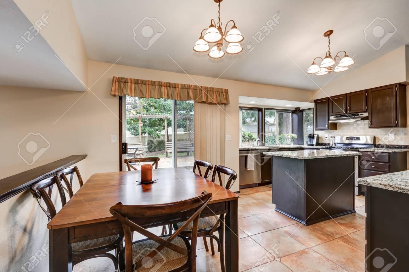 Open Plan Home Interior Dining Area Boasts Rectangular Wood