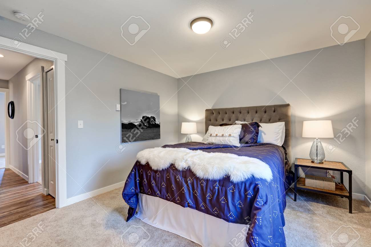 Lovely Master Bedroom With Soft Grey Walls Queen Bed With Tufted Stock Photo Picture And Royalty Free Image Image 72098923