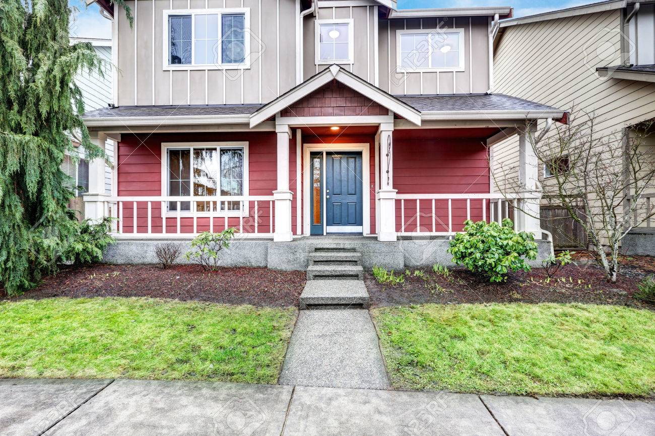 Great Contemporary Red And Grey Home Exterior With Covered Porch, Concrete Stairs  And Blue Entrance Door