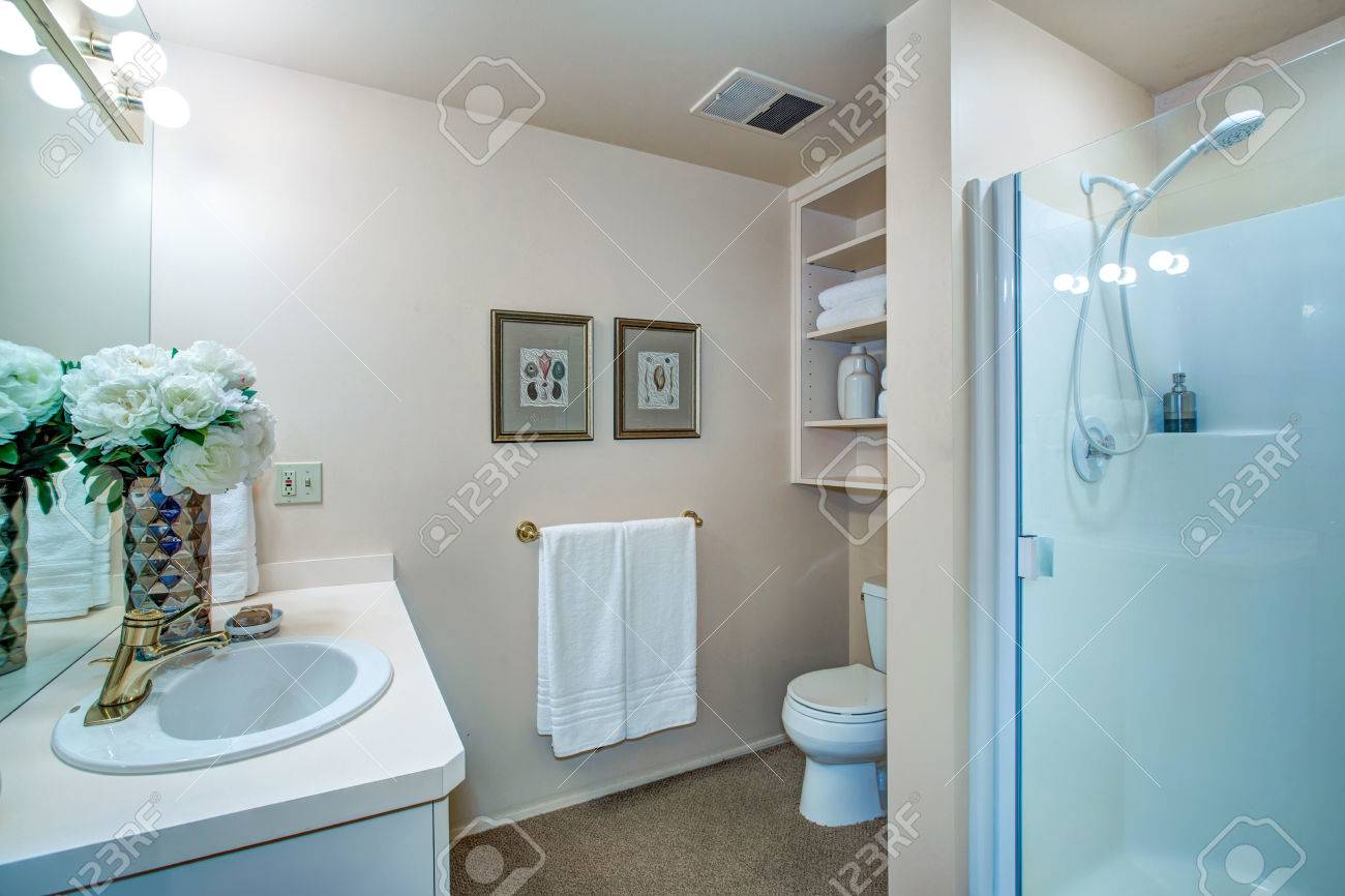 Newly Remodeled Bathroom Design With Neutral Walls Showcases.. Stock ...
