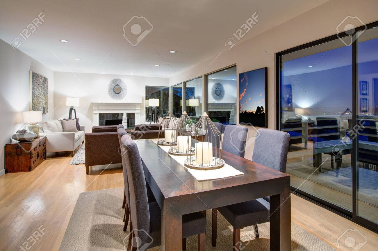 Stupendous Grey Tones Dining Space Is Fitted With Dark Wood Dining Table Interior Design Ideas Philsoteloinfo