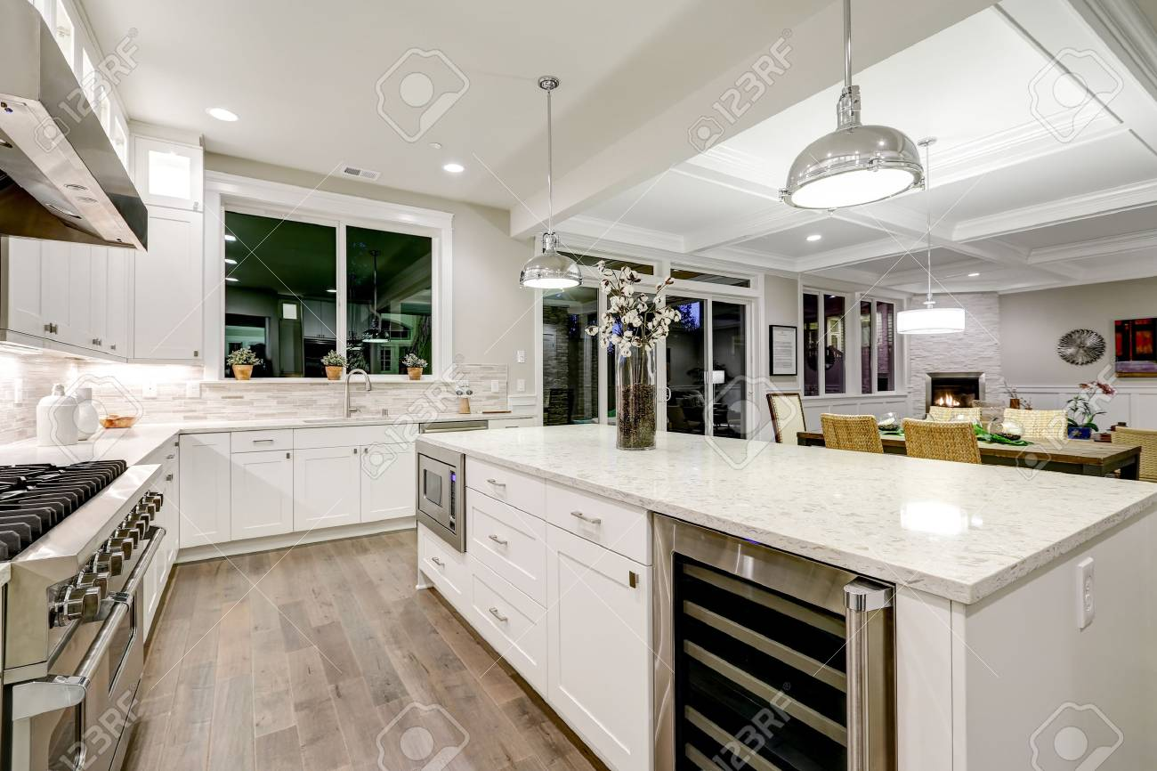 Gourmet Kitchen Features White Shaker Cabinets With Marble Countertops Stock Photo Picture And Royalty Free Image Image 72963420