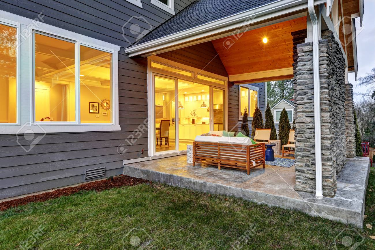 Chic Covered Back Patio With Built In Gas Fireplace Stone Pillars Stock Photo Picture And Royalty Free Image Image 72942199