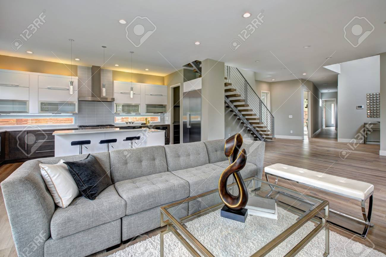 Contemporary Style Living Room With Comfortable Grey Tufted Sofa ...