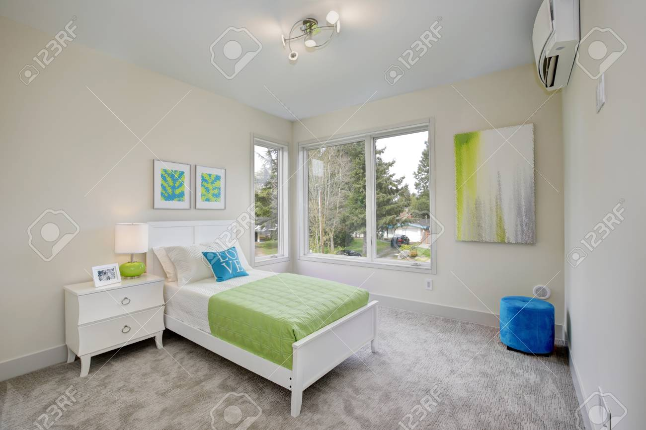Contemporary blue and green kid\'s bedroom with walls painted..