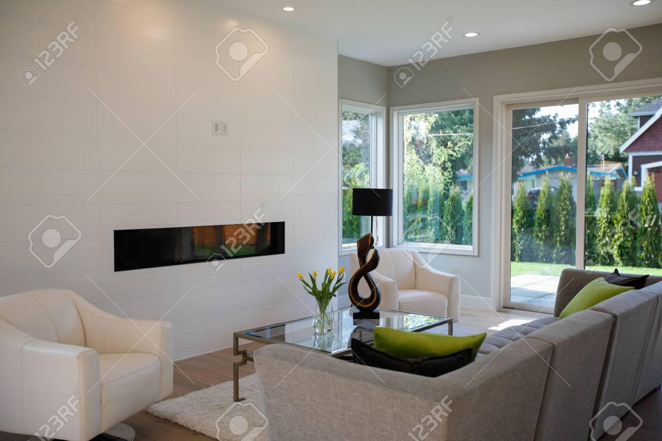 Woonkamer Groen Grijs : Moderne grijze woonkamer met grijze bank bekroond met groene
