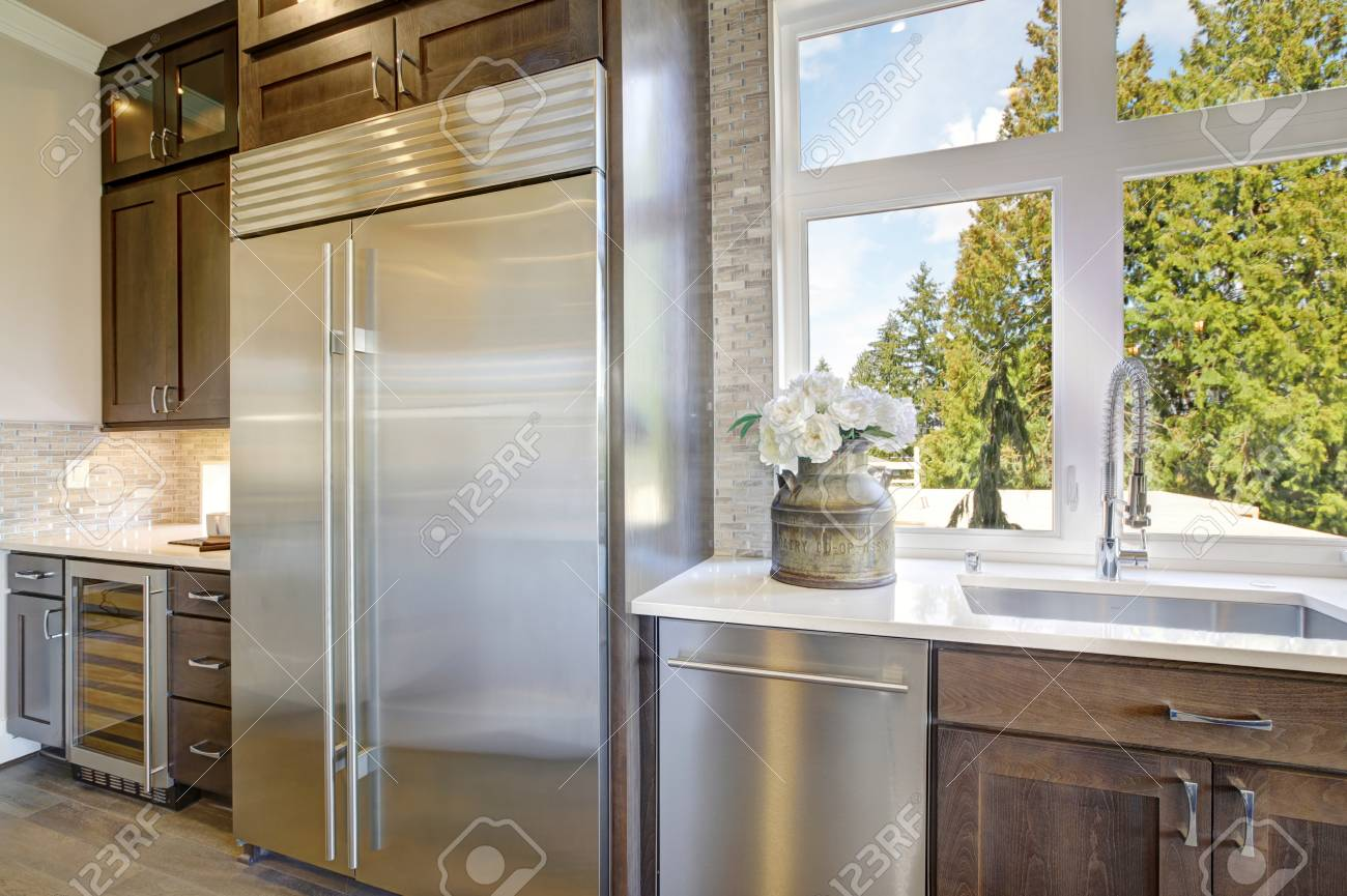 - Luxury Kitchen Accented With Large Built-in Stainless Steel