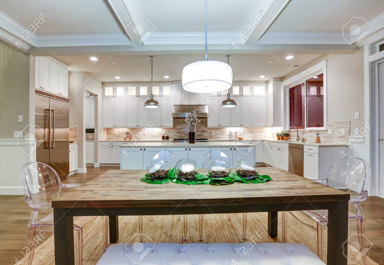 Lovely craftsman style dining and kitchen room interior with..