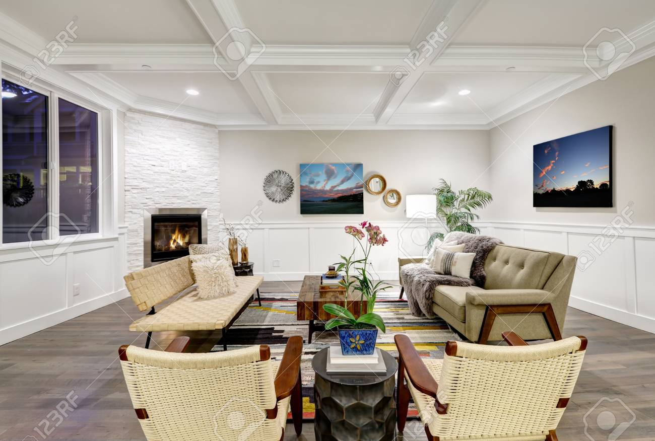 Lovely Craftsman Style Living Room With Coffered Cealing Over ...