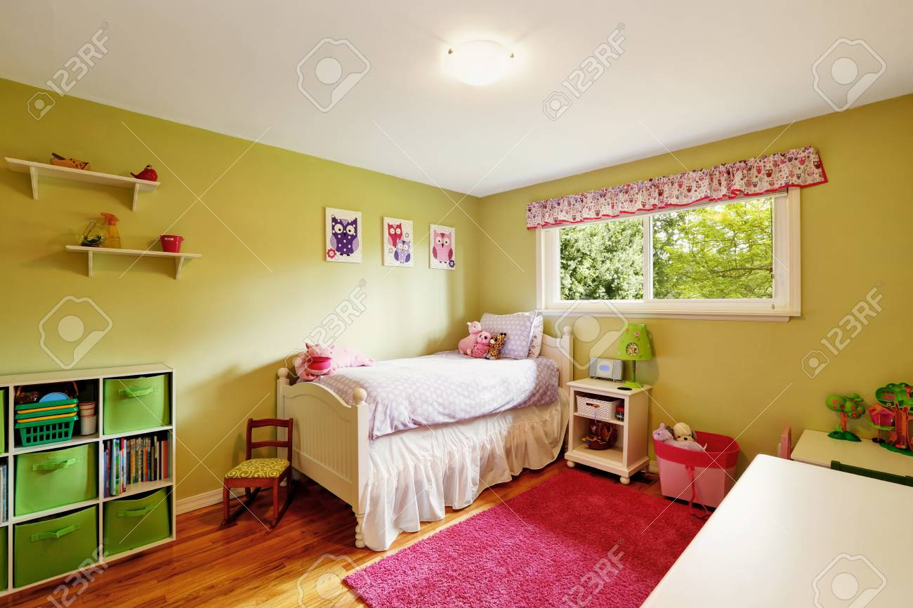 adorable girl s bedroom in green and red tones includes a white rh 123rf com