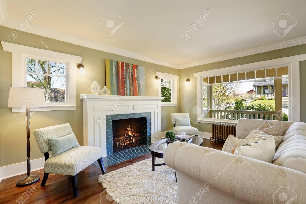 Lovely Green Living Room With Built In Bookshelves Crown Molding