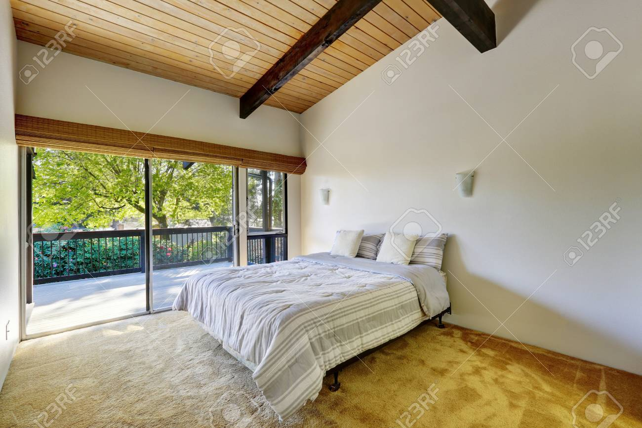 Image of: Light Bedroom Design Features Wood Plank Vaulted Ceiling Accented Stock Photo Picture And Royalty Free Image Image 93943428