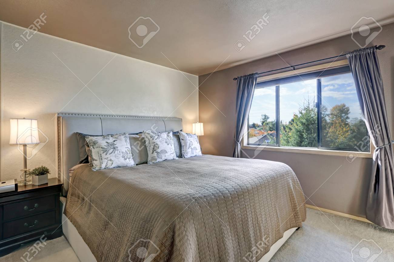 Master Bedroom Interior Features King Size Bed With Nail Button ...