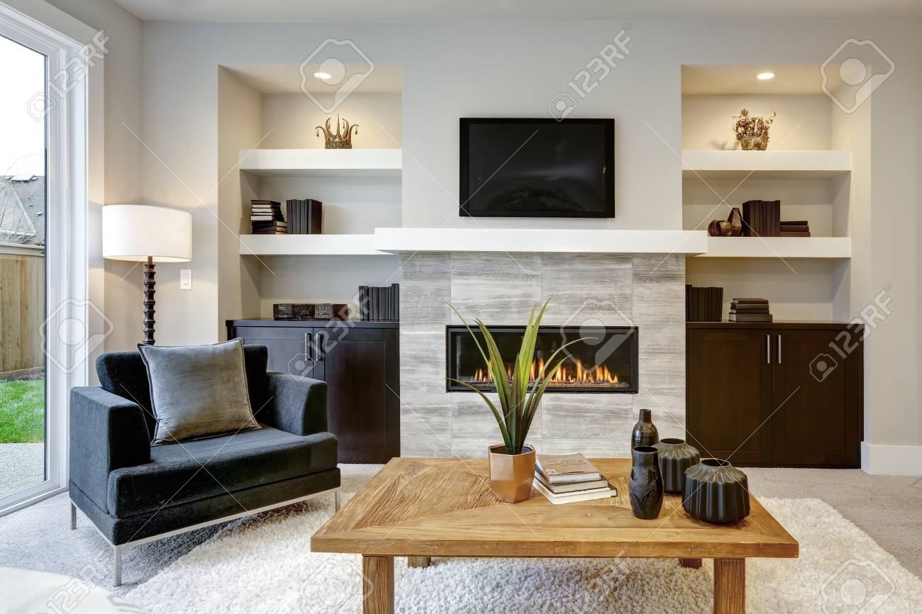 Beautiful Modern Living Room Interior With Stone Wall And