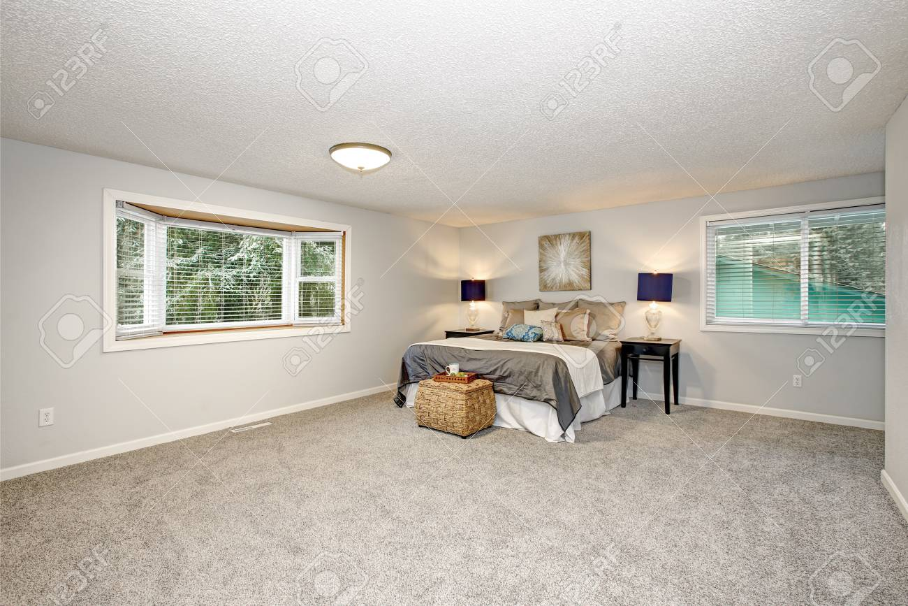Master bedroom with lots of space, grey carpet floor and rattan..