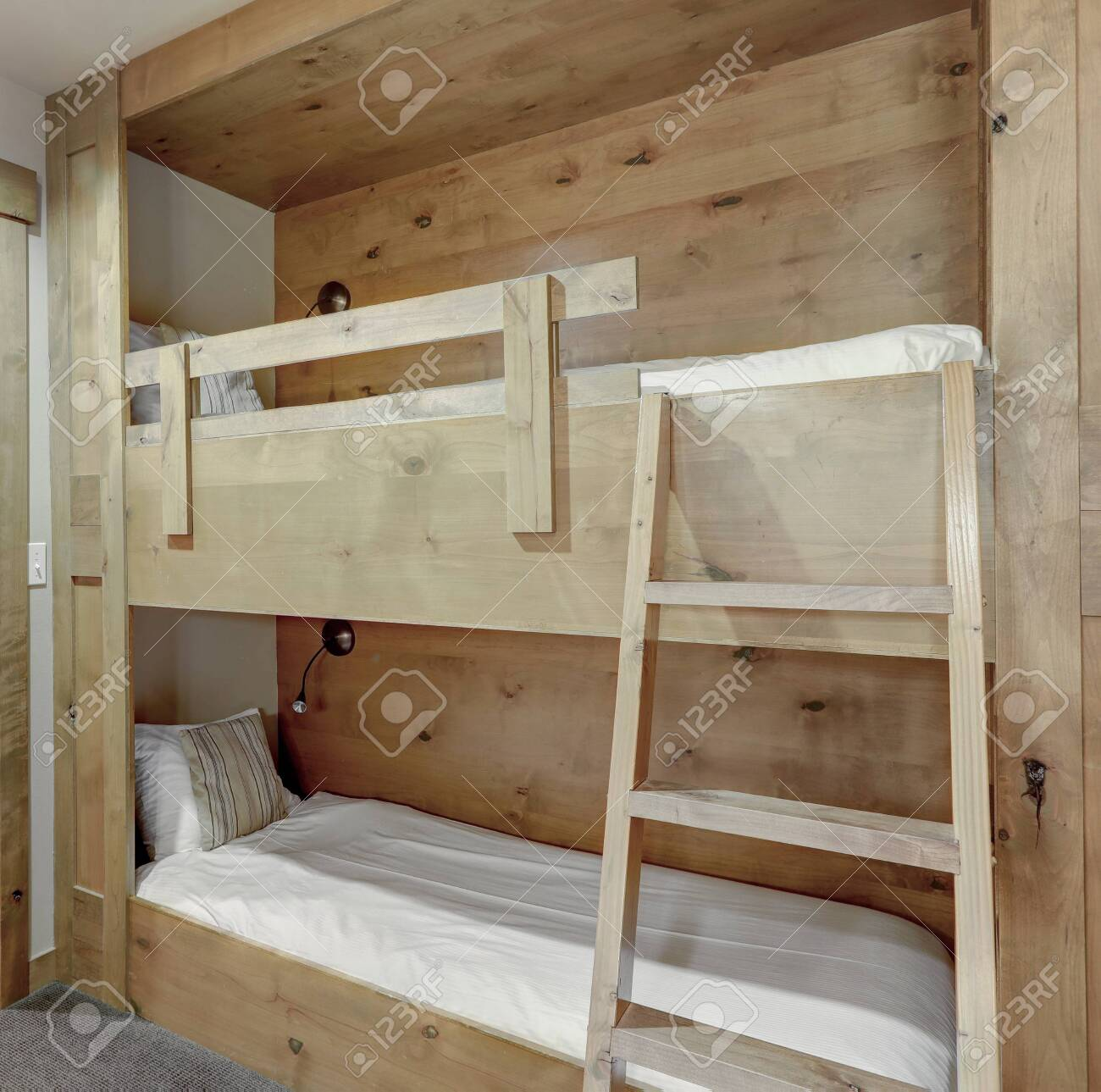 Smart Home With Wooden Bunk Beds In A Hallway For Adults Or Kids Stock Photo Picture And Royalty Free Image Image 142146561