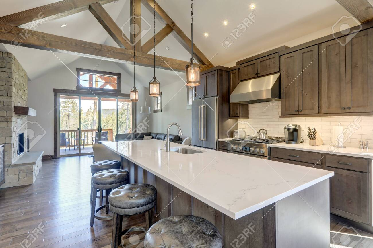 Image of: Amazing Modern And Rustic Luxury Kitchen With Vaulted Ceiling Stock Photo Picture And Royalty Free Image Image 144993101