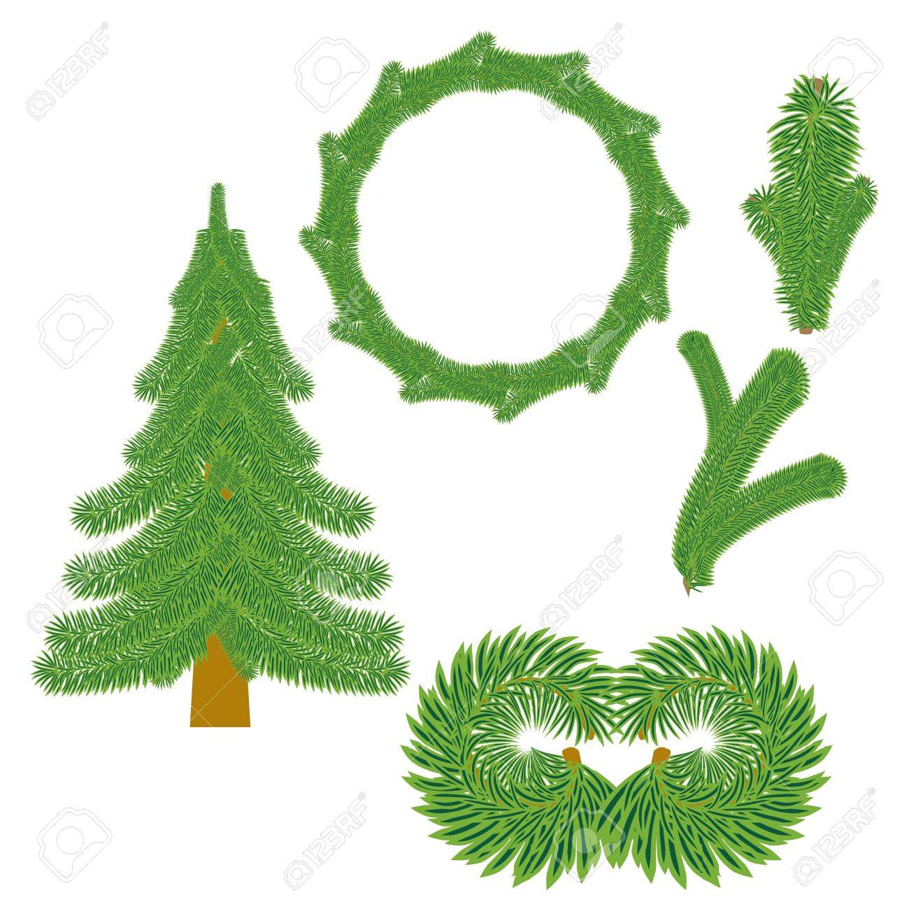 set of Christmas tree branches isolated on white without transparency and gradients Stock Vector - 16057029