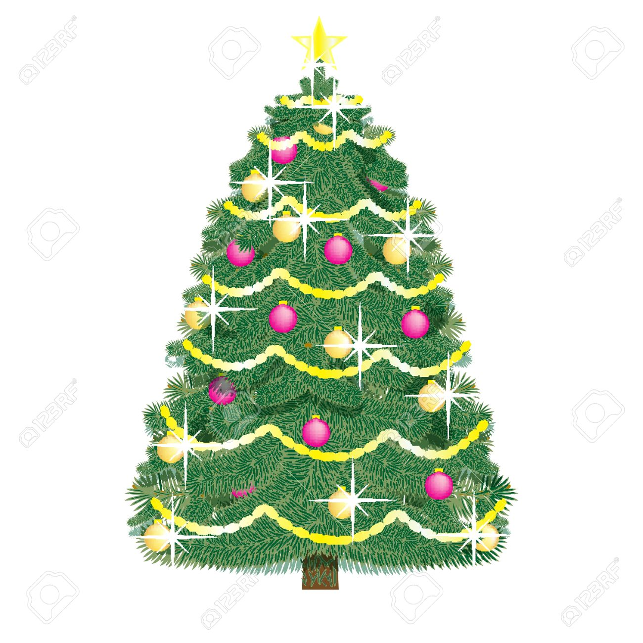 realistic Christmas tree decorated with fairy lights, colored balls and star isolated on white Stock Vector - 16057085
