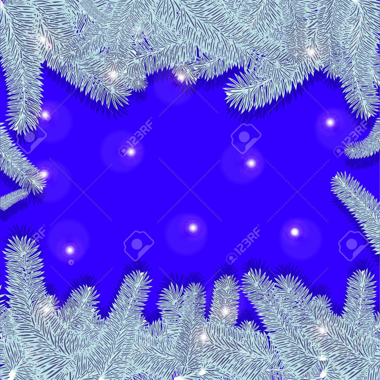 Blue Christmas Background With Silver Trees Stock Vector