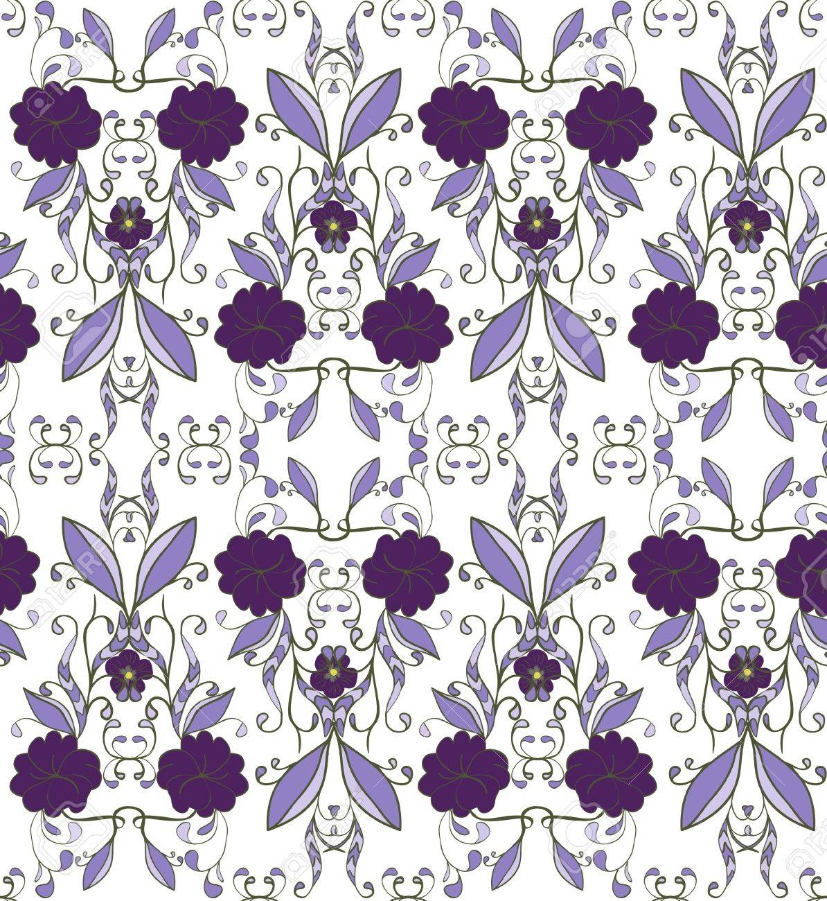 seamless texture pattern with blue flowers and curls Stock Vector - 16457543