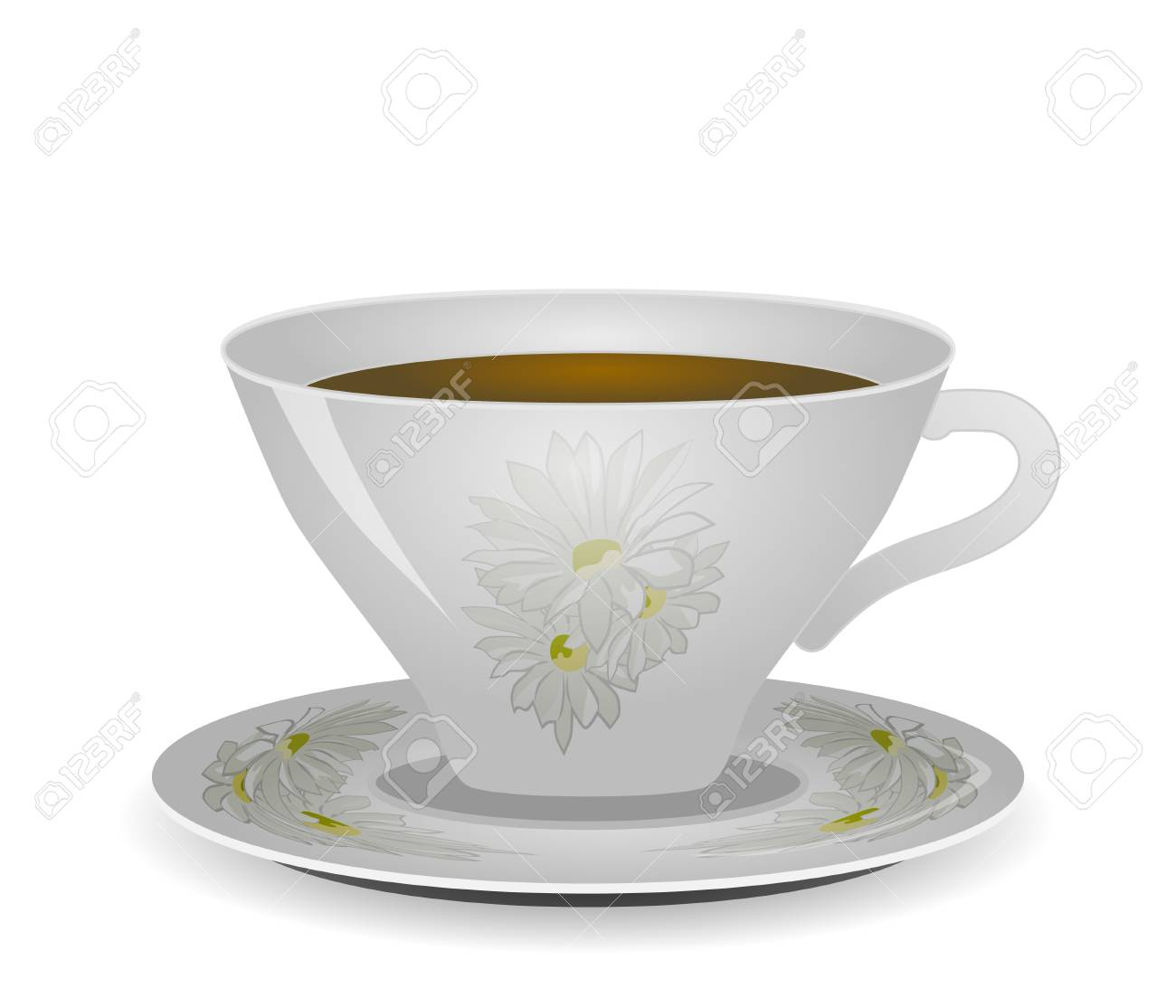 White with a twig pattern coffee cup and saucer isolated on white vector Stock Vector - 17275782