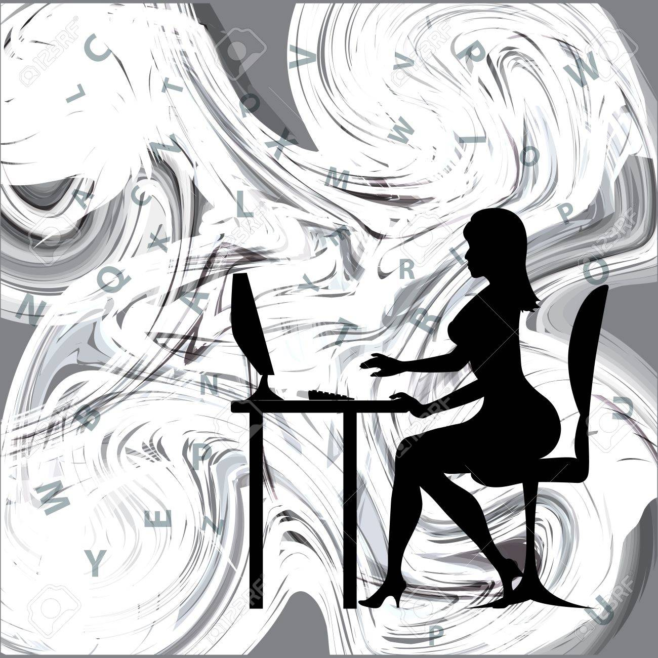vector background with a silhouette of a girl running on Computer Knowlodge Stock Vector - 17275800