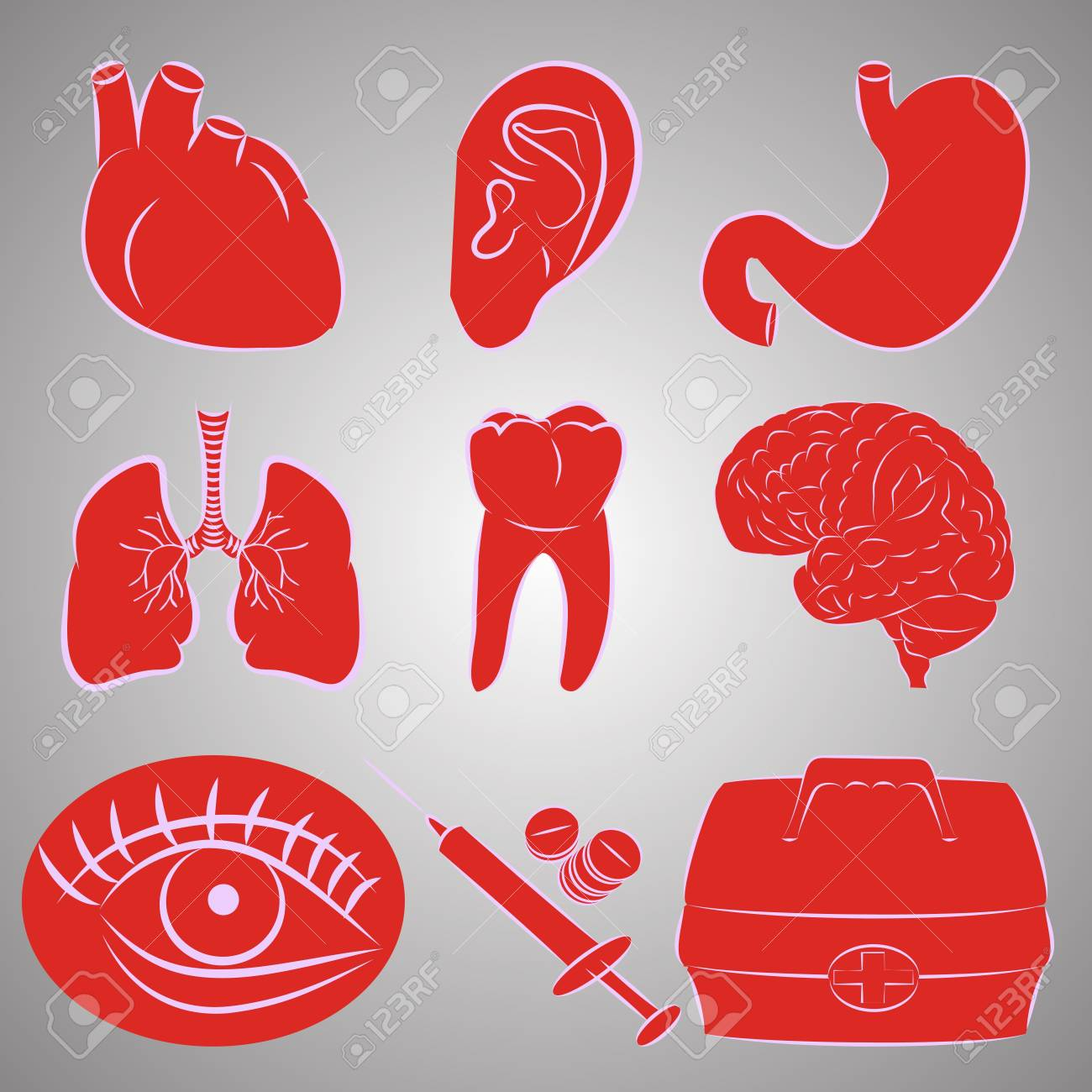Vector set of nine image on medical topics Stock Vector - 17275775