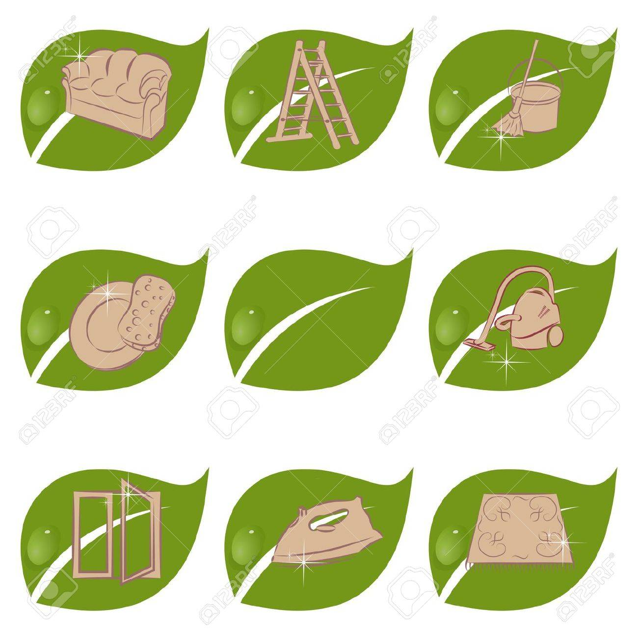 Set of green icons for a cleaning company Stock Vector - 17719244