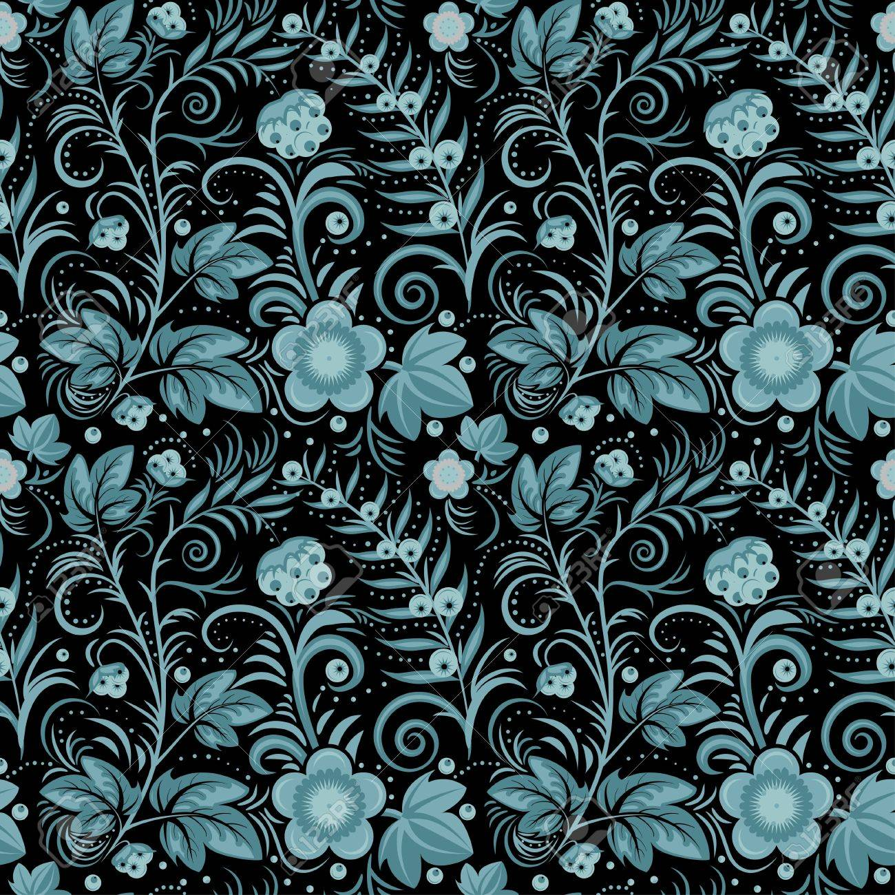 Floral seamless background blue berries and flowers on black floral seamless background blue berries and flowers on black vector illustration stock vector dhlflorist Images
