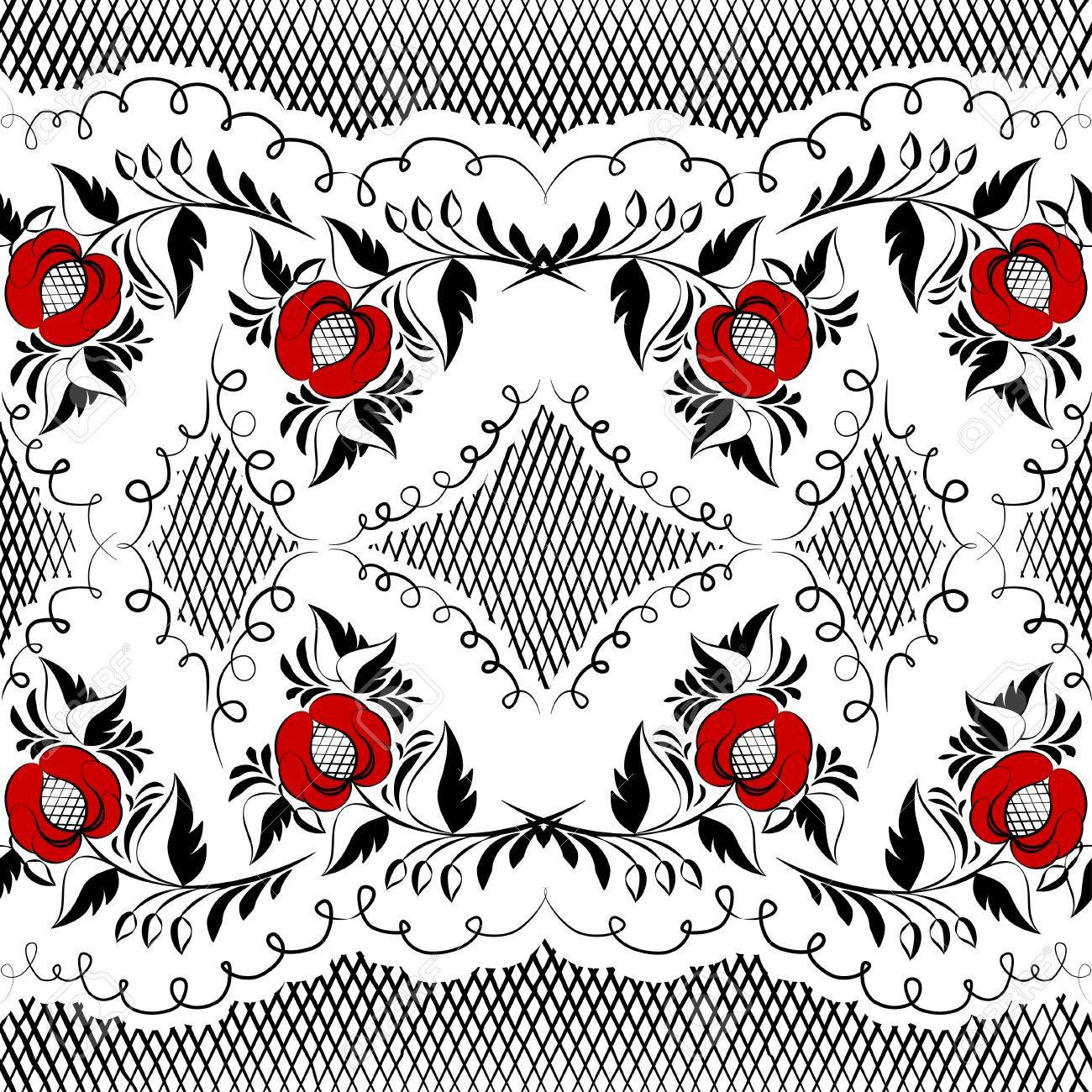 Seamless Floral Pattern In Black And White With Red Flowers