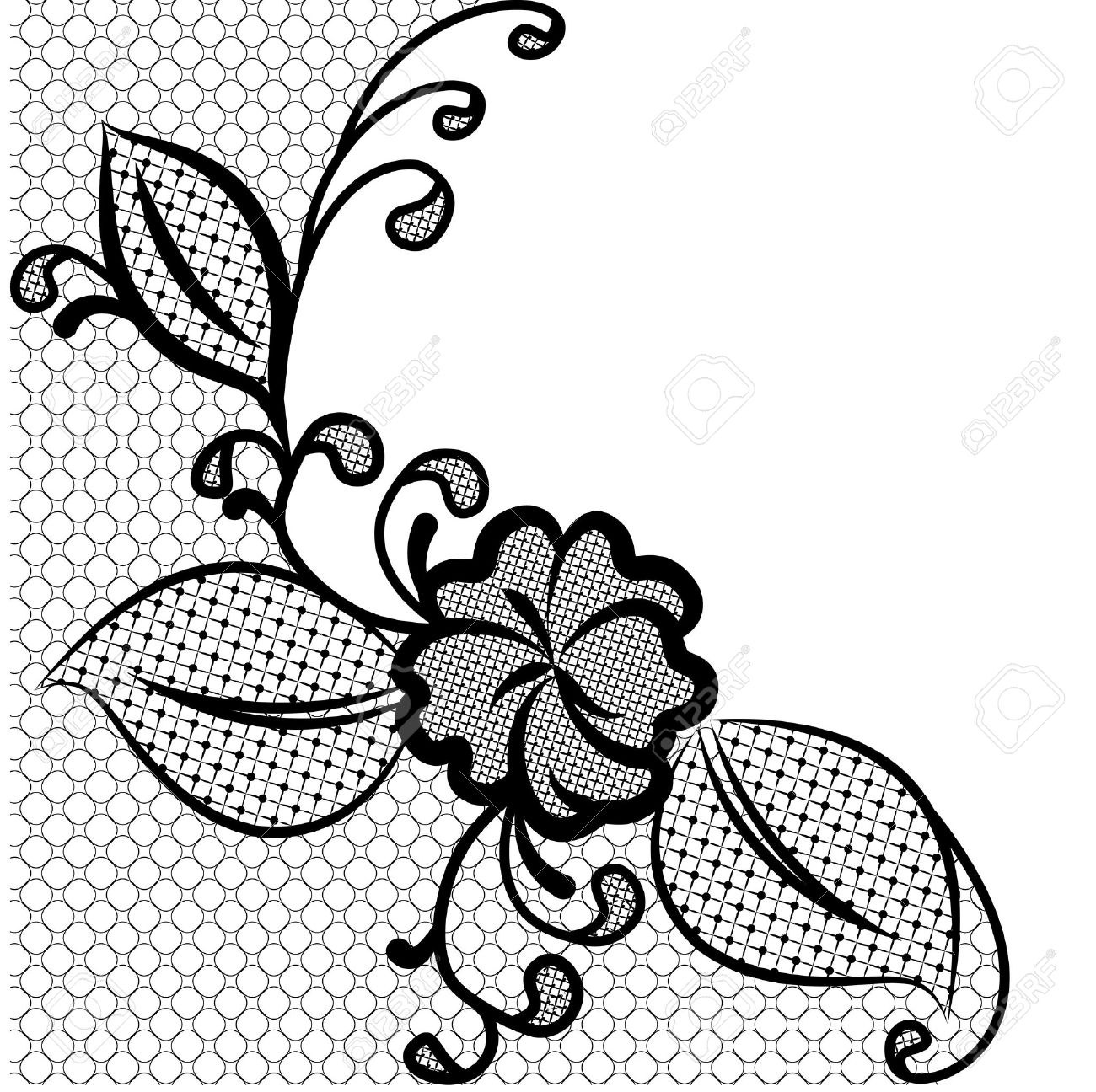 lace corner black and white background with space for text can rh 123rf com