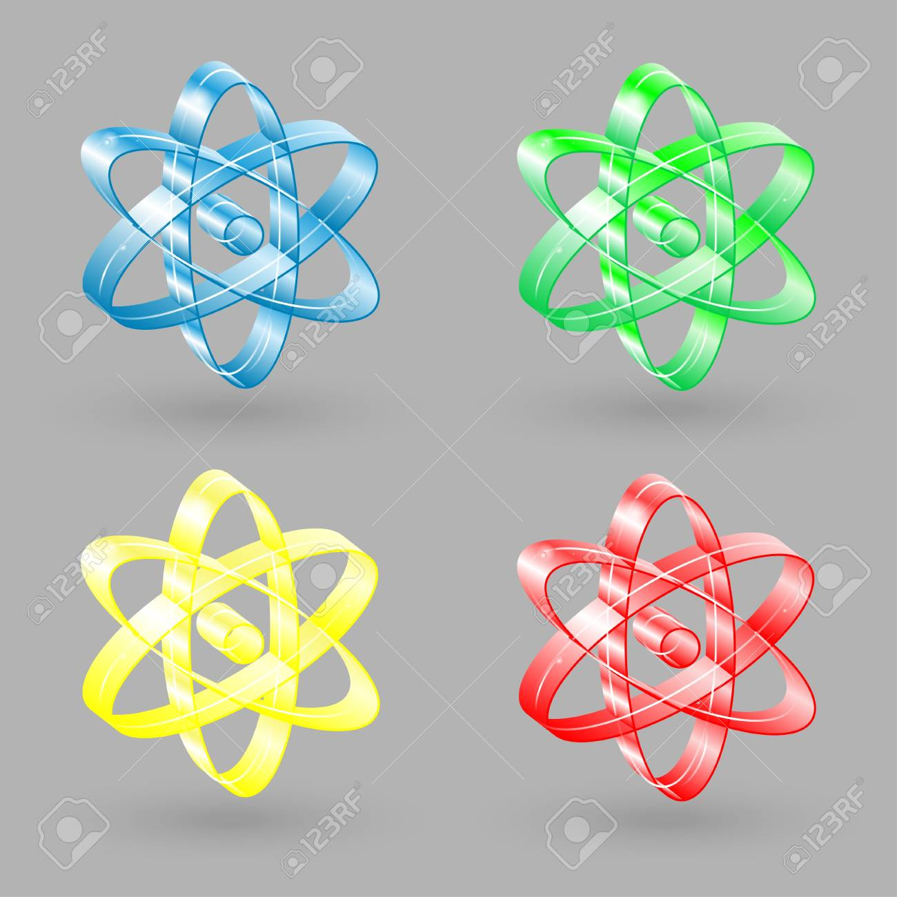 A set of four icons atom. Labels of different colors. Stock Vector - 22143406