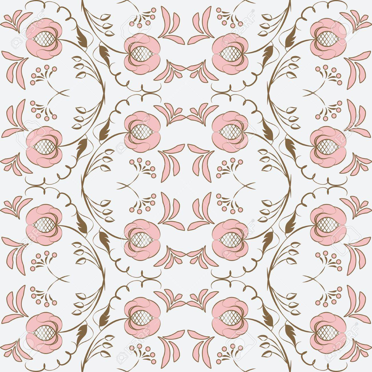 Elegant seamless pattern with stylized flowers  Vector illustration Stock Vector - 22544627